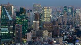 Opinión aérea de la ciudad de Tokio de la opinión de la noche Fotos de archivo