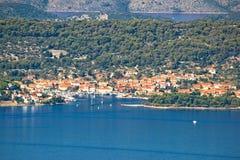 Opinión aérea de la costa de Veli Iz Fotografía de archivo