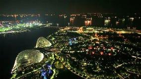 Opinión aérea de la demostración de la luz de Singapur metrajes