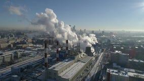Opinión aérea de la estación del vapor de la ciudad de Moscú almacen de video