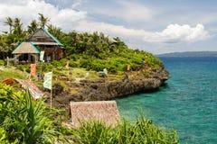 Opinión aérea de la isla de Boracay del destino de lujo de las vacaciones del barco de cruceros del viaje fotos de archivo