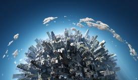 Opinión aérea de la megalópoli ilustración del vector