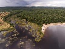 Opinión aérea de la naturaleza del contryside de Ontario Canadá que mira abajo desde arriba del río que fluye dentro del lago Imagenes de archivo