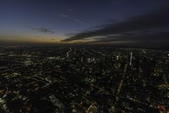 Opinión aérea de la noche céntrica de Los Ángeles California Fotos de archivo