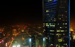 Opinión aérea de la noche de Shangai fotografía de archivo libre de regalías