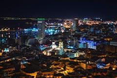 Opinión aérea de la noche en Alicante, Costa Blanca, España Foto de archivo libre de regalías