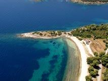 Opinión aérea de la pequeña península Fotografía de archivo