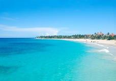 Opinión aérea de la playa del Caribe Foto de archivo