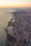 Opinión aérea de la salida del sol de Chicago Skylie fotos de archivo libres de regalías