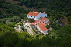 Opinión aérea de las casas mediterráneas tradicionales de Menorca Imagen de archivo