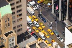 Opinión aérea de las casillas de taxi de Nueva York Fotografía de archivo