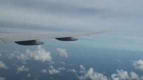 Opinión aérea de las islas de Maldivas de la ventana plana metrajes