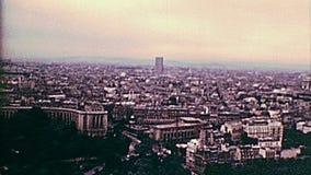 Opinión aérea de los años 70 de París metrajes