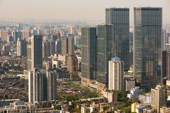 Opinión aérea de los rascacielos céntricos de Chengdu - edificios del IFS Imágenes de archivo libres de regalías