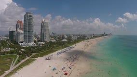 Opinión aérea de Miami Beach metrajes