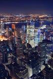 Opinión aérea de New York City en la noche Fotografía de archivo libre de regalías