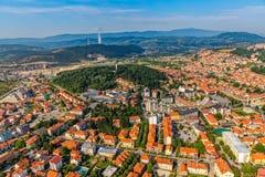Opinión aérea de Podgorica Foto de archivo libre de regalías