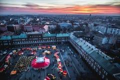 Opinión aérea de Szeged Advent Christmas Market en la puesta del sol Fotos de archivo
