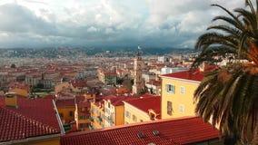 Opinión aérea de Timelapse sobre ciudad Niza de Francia almacen de metraje de vídeo