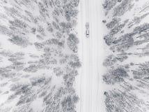 Opinión aérea del abejón del bosque y del camino del invierno cubiertos con nieve Imagen de archivo libre de regalías