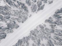 Opinión aérea del abejón del bosque y del camino del invierno cubiertos con nieve Imágenes de archivo libres de regalías