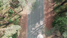 Opini?n a?rea del abej?n de la trayectoria del ciclo en el bosque del verano con el montar a caballo del ciclista en las biciclet almacen de metraje de vídeo