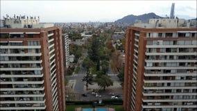 Opinión aérea del abejón de Santiago la capital de Chile Imagen de archivo libre de regalías