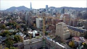 Opinión aérea del abejón de Santiago la capital de Chile Fotografía de archivo