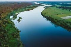 Opinión aérea del abejón del río de Nemunas, un del este importante - riv europeo Fotos de archivo libres de regalías