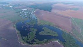 Opinión aérea del abejón sobre el lago y campos metrajes