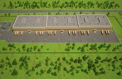 Opinión aérea del almacén al aire libre Foto de archivo libre de regalías
