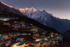 Opinión aérea del bazar de Namche, viaje de Everest, Himalaya, Nepal Imagen de archivo