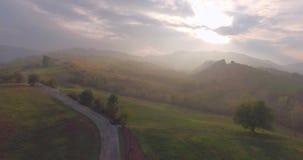 Opinión aérea del camino del campo almacen de metraje de vídeo