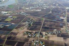 Opinión aérea del campo japonés Foto de archivo libre de regalías