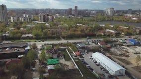 Opinión aérea del distrito de una ciudad existencias Zona urbana almacen de video