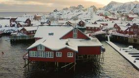 Opinión aérea del dron del rorbu pesquero de madera multicolor tradicional famoso de las casas en una orilla de mar en el archipi almacen de metraje de vídeo
