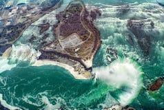 Opinión aérea del helicóptero, caídas canadienses, Canad de Niagara Falls Fotografía de archivo libre de regalías
