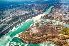 Opinión aérea del helicóptero, caídas canadienses, Canad de Niagara Falls Foto de archivo