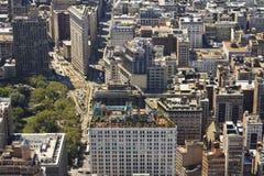 Opinión aérea del horizonte de New York City Manhattan foto de archivo