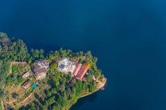 Opinión aérea del lago Phewa en Nepal imagen de archivo libre de regalías