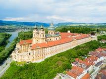 Opinión aérea del monasterio de Melk Imagen de archivo