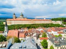 Opinión aérea del monasterio de Melk Fotos de archivo