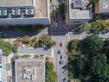 Opinión aérea del ojo del ` s del pájaro del abejón de la ciudad de Raleigh, NC Imágenes de archivo libres de regalías