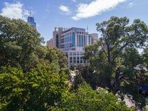 Opinión aérea del ojo del ` s del pájaro del abejón de la ciudad de Raleigh, NC Imagen de archivo