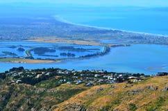Opinión aérea del paisaje de los llanos y del pega de Christchurch Cantorbery foto de archivo libre de regalías