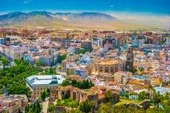 Opinión aérea del paisaje urbano de Málaga, España fotos de archivo libres de regalías