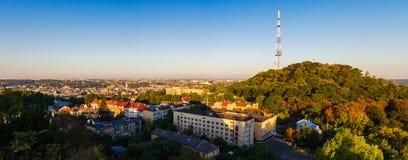 Opinión aérea del panorama de Lviv, Ucrania Imagen de archivo libre de regalías