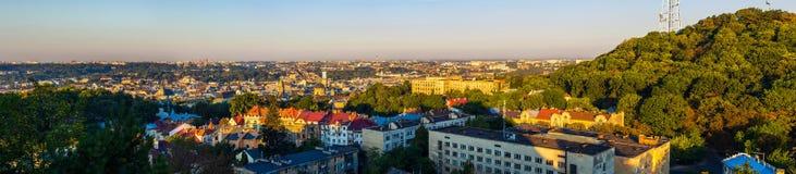 Opinión aérea del panorama de Lviv, Ucrania Foto de archivo libre de regalías
