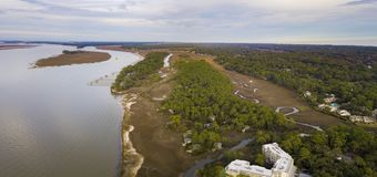 Opinión aérea del panorama Hilton Head Island, Carolina del Sur, los E.E.U.U. imágenes de archivo libres de regalías