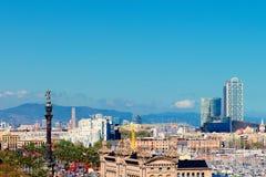 Opinión aérea del panorama del horizonte de la ciudad de Barcelona sobre Passeig de C Fotografía de archivo